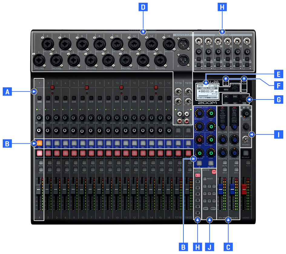 L-20 is a digital mixer for musicians and sound engineers