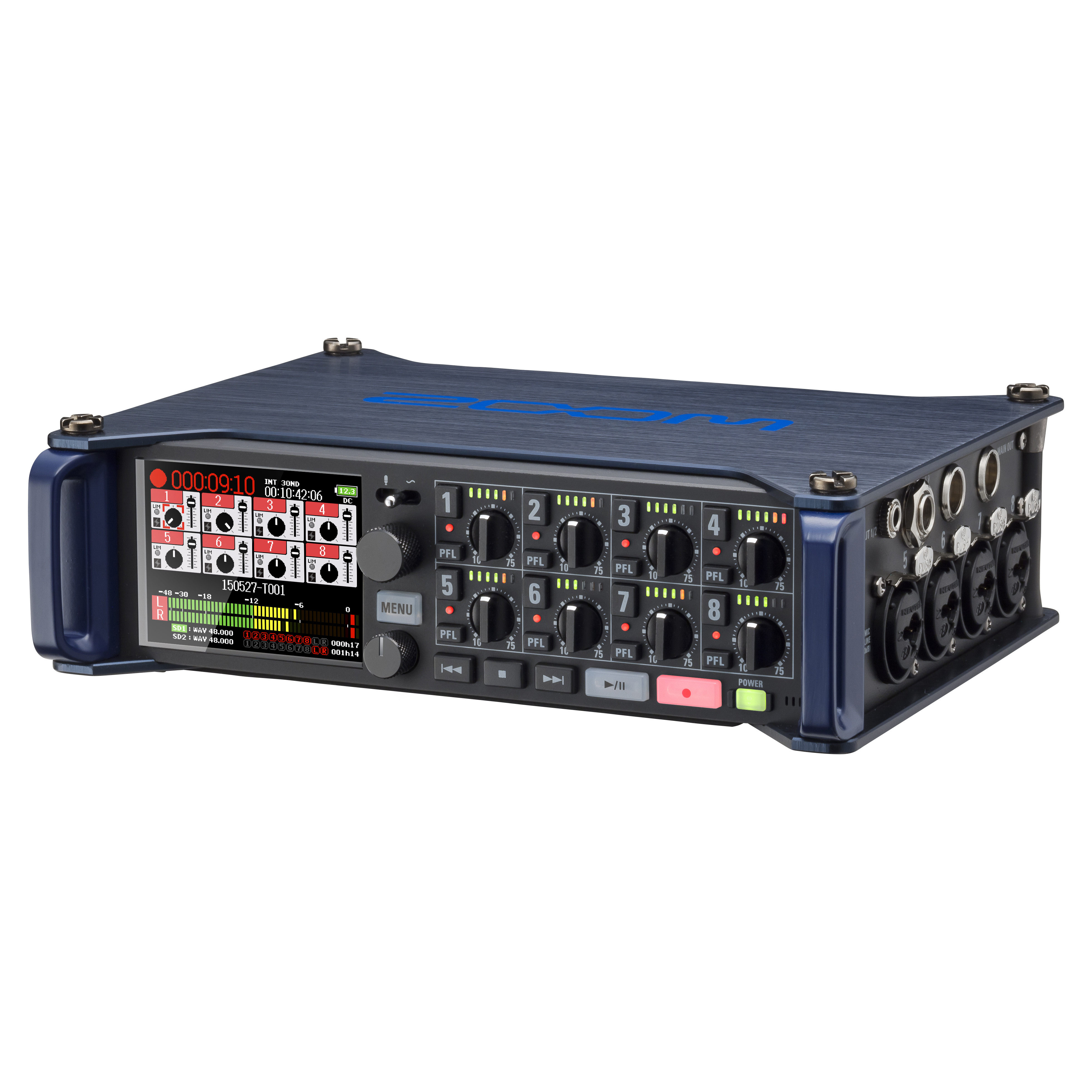 F8 Multitrack Field Recorder Zoom Sound 8 Bit Up To 65 Se Of All Outputs Short Circuit Front Slant Right