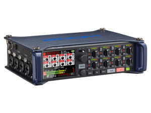 Zoom F8 MultiTrack Field Recorder: Front, Slant Left